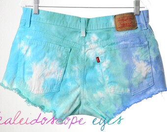 Vintage LEVIS Destroyed Tie Dyed Stretch Denim High Waist Cut off Shorts XL