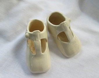 Ceramic Baby Girl or Toddler Shoes. Unique Pair - Pretty Ivory Cream Color - Collectible