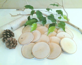 "25  3"" Birch tree slices -  Rustic wedding decor - Holiday ornaments - gift tags- Save the date - Name tags - Birch logs - Wood tree slices"