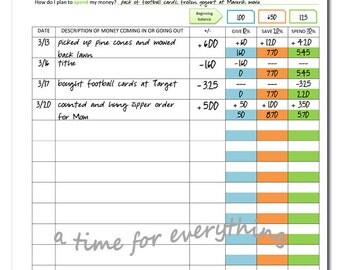 Printable budget sheet for kids | give save spend | instant download