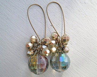 Sahara Green and Gold Earrings/Rainbow Crystal Earrings/Beaded Earrings/Cluster Earrings/Gift For Her