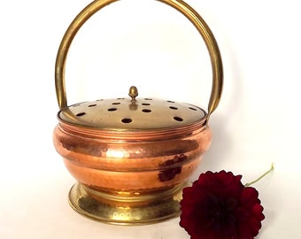 French Villedieu copper and brass basket with pierced lid for flower arranging