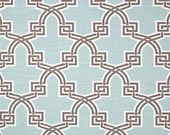 "Two 96"" x 50""  Custom Curtain Panels  -  Geometric Trellis - Aqua/Coral/Red"