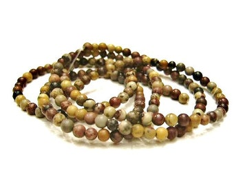 1 Strand 4mm Picture Jasper / Chinese Painting Jasper, Small, Round Stone Beads, Natural Stone