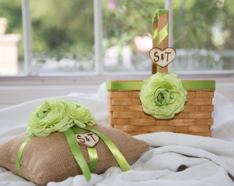 Rustic Wood flower Girl Basket and Burlap Ring Bearer Pillow Set  Green silk flowers Customize with your wedding colors