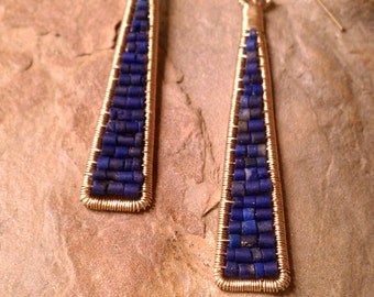 Lapis Triangle Earrings Cleo Earrings in 14K Gold Fill and Lapis Cobalt Blue Earrings Made to Order