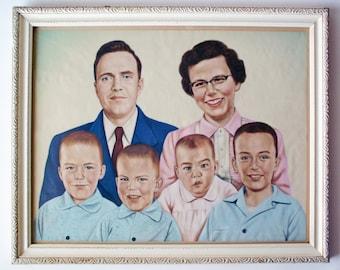 Vintage 1950's Family Portrait, Hand-Drawn on Translucent Paper, Unique Photo Realism