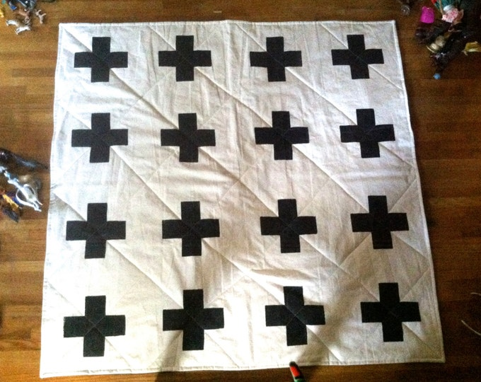 Organic Quilted Playmat with Screen Printed Plus Sign Design - Rugged and Durable, Made to Order