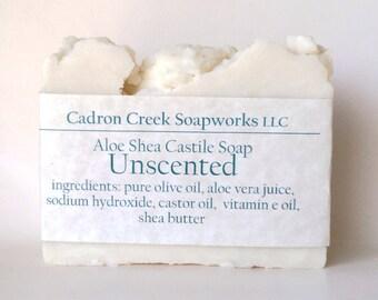 Unscented Aloe Shea Soap, Aloe Vera Soap with Shea Butter