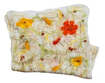 "SALE, Felted cobweb scarf, merino wool, white, orange, yellow - ""The Orange Blossom"""