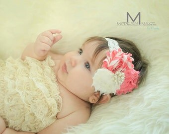 Newborn Headband, baby headband, girls headband, baby girls headband, lace headband, shabby flower headband