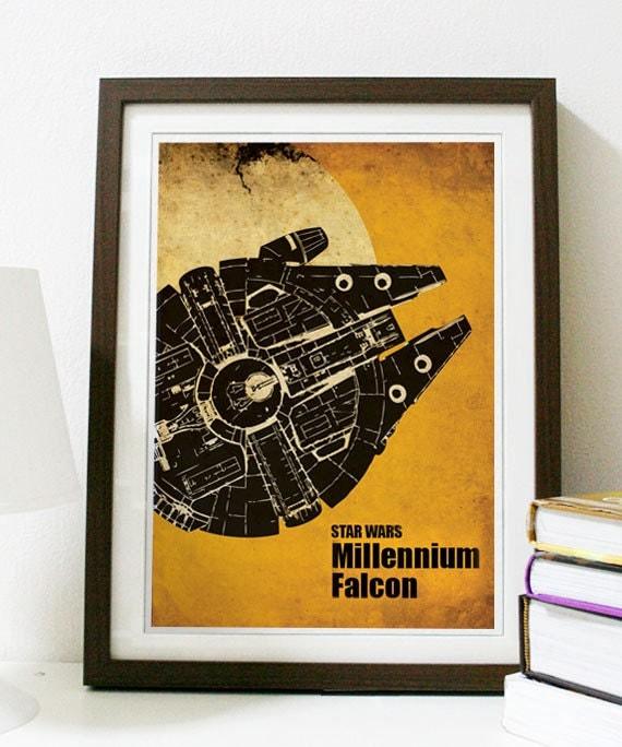 Star Wars - Millennium Falcon Poster Vintage Print