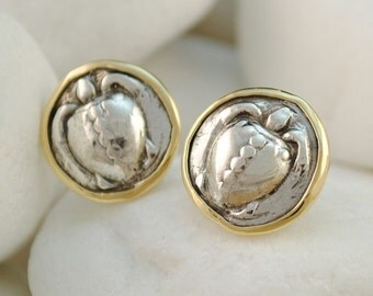 Turtle Ancient Greek Coin Stud Earrings - Solid Sterling Silver and 18K Gold