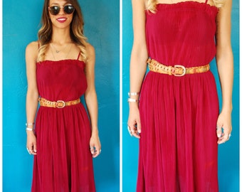 Vintage 70s Maroon Disco Dress - Accordian Pleats Elastic Waist Burgundy Midi Dress - Size Small