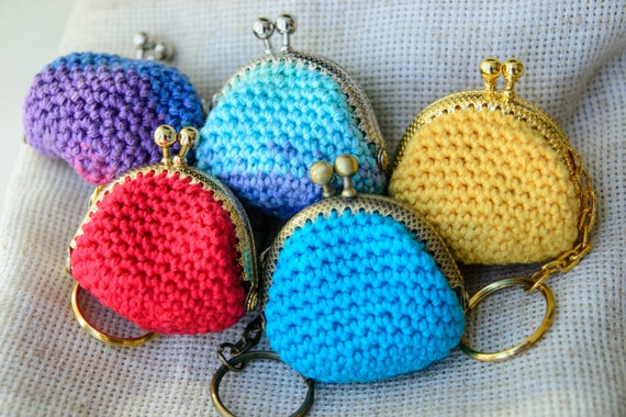Items similar to Crochet coin purse - cute mini purse key ring on Etsy