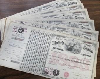 20 Antique TOBACCO Dealer Tax Stamps Certificates 1883 Retail Tobacco Civil War Era US Internal Revenue