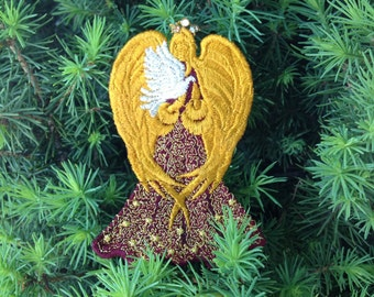Lace Peace Angel, Angel with Dove, Peace, Gold Swaroki Crown & Silver Metallic Dove, Embroidery Lace,Gold Angel Wings, Embroidered Angel