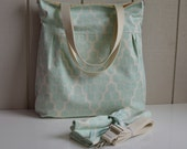 Hive in Mint - Pleated Diaper Bag With Tote Straps AND Changing Pad, Removable Cross Body Strap, Recessed Zipper