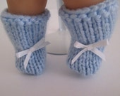 "13-14"" Light Blue Booties with White Bows"