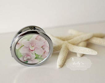 "Photo Mirror Compact- ""Cotton Candy Orchids""- Orchid Photo Compact- Pink Orchids Photo- 3"" Double Sided Compact Mirror, Engravable Gift Item"
