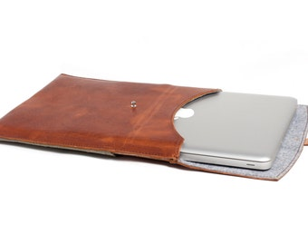 Handmade Leather Laptop Sleeve - Green and Walnut leather - Monogram