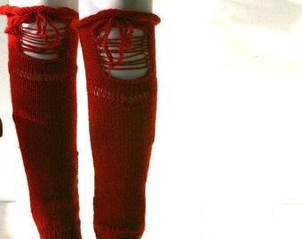 Red Torn Knit Leg Warmers - Boot Cuffs - Boot Tops - Knit Boot Socks  - Fall Winter Fashion - Teens Women Accessories