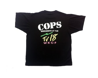 Rad 80s Neon Cops TV18 T-Shirt - L