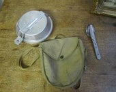 Vintage Boy Scout Mess Kit w cutlery.  Camp mess kit.  Hiking mess kit