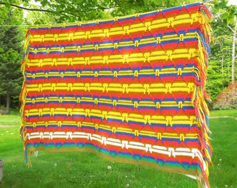 SALE - Vintage crochet afghan blanket throw in colorful striped diamond pattern - Yellow red purplish-blue white mustard 58 x 43 in