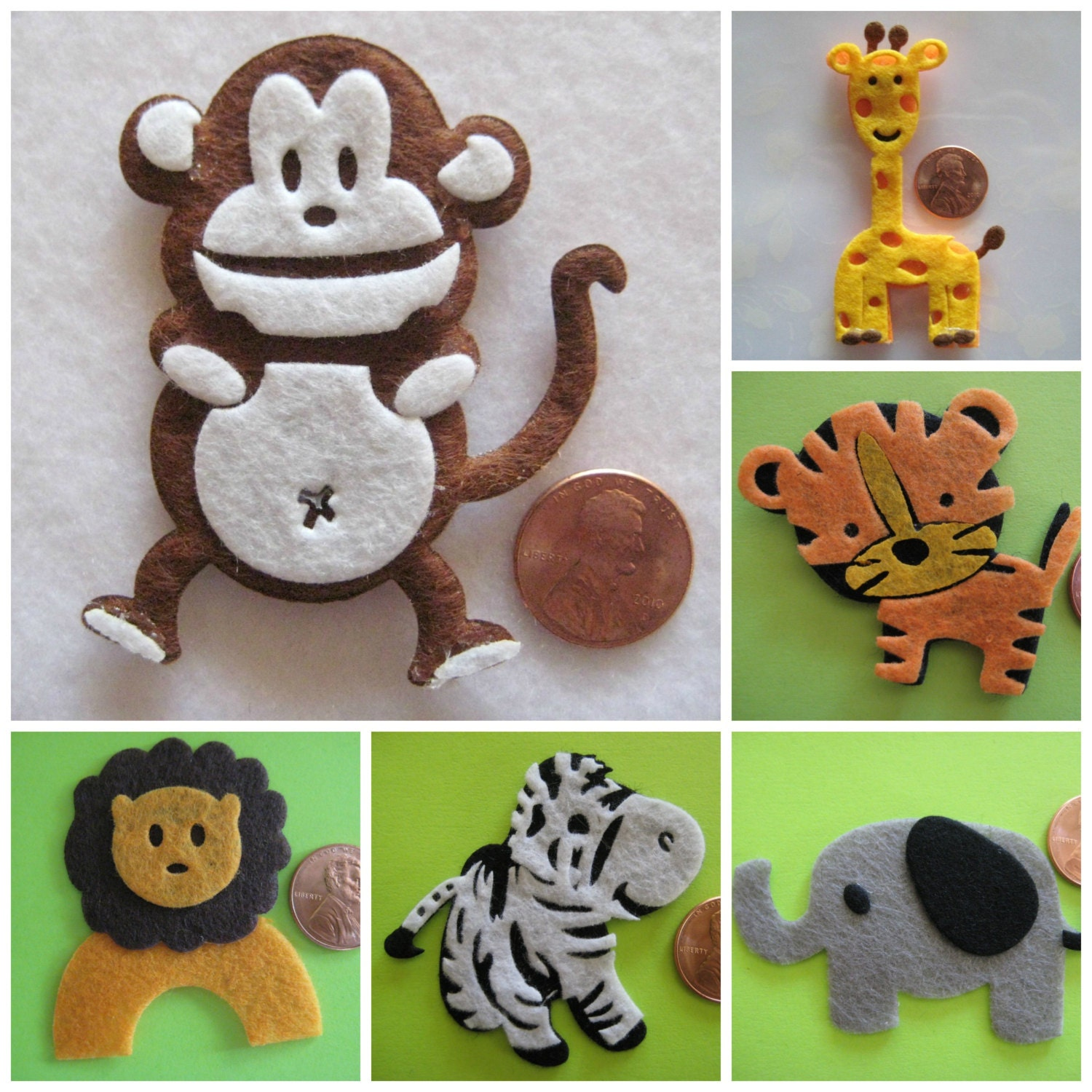 Animal ornaments - Hippo Felt Animal Ornaments For Zoo Forest Safari Jungle Theme Crafting Embellishment Party Favors 2 X 2 50 Mm X 50 Mm