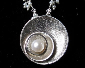 Pearl disc pendant on sterling and pearl chain