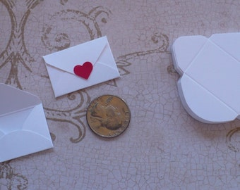 DIY 12 Tiny - Fold Envelopes / Punched Pieces - Made from White Cardstock