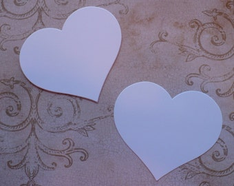 50 Full Heart Shape Die Cuts Made from White Cardstock for Rustic Weddings Tags Cardmaking Labels
