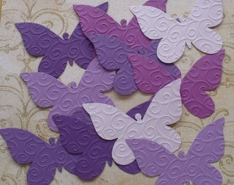 10 Embossed Butterfly / Butterflies - Sizzix  Die Cut pcs Purple colors cardstock paper 4 Photo Shoots Weddings Showers