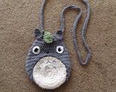 Totoro Inspired Crochet Drawstring Bag