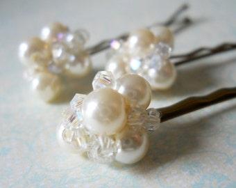 Pearl Hair Pins Bridal Sparkly Hair Accessory Crystal Hair Pins Wedding Hair Pearl Bobby Pins Elegant Bridal Hair Accessory Ivory Hair Pins