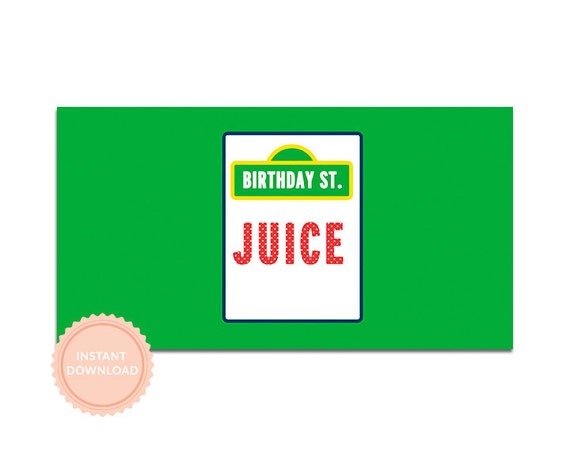 INSTANT DOWNLOAD, SESAME Street Inspired Birthday - Printable Juice Box Wraps