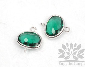 F130-S-EM// Silver Framed Emerald Glass Stone Connector, 2 pcs