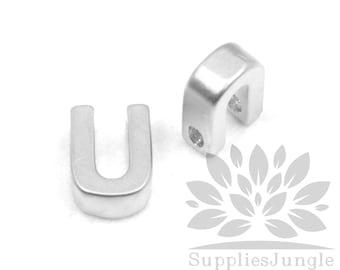 "IP002-MR-U// Matt Original Rhodium Plated Simple Initial ""U"" Pendant, 2 pcs"