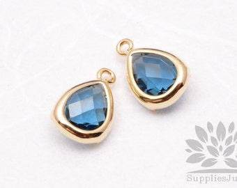 F121-G-BT// Gold Plated Blue Topez Faceted Teardrop Glass Pendant, 2 pcs