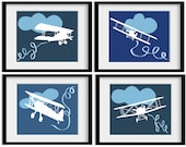 "Vintage Baby Airplane Art Bi-Plane Boys Nursery Print Set of 4 10x8"" Perfect Airplane Decor."