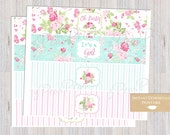 Shabby Chic Baby Shower Water Bottle Labels Vintage Floral Pink and Blue Rose INSTANT DOWNLOAD