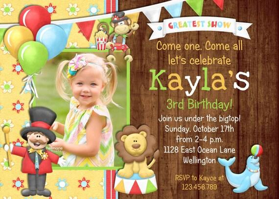 Rustic Circus Carnival Birthday Invitation
