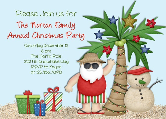 Tropical Palm Tree Christmas Party Invitation July Summer Santa Custom Printable