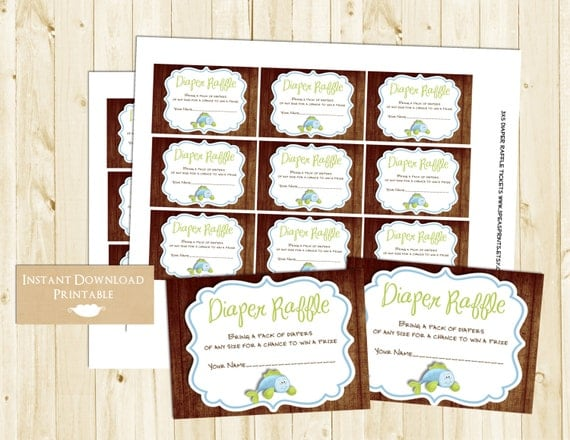 Rustic Wood Fishing Printable Diaper Raffle Tickets for Baby Shower INSTANT DOWNLOAD