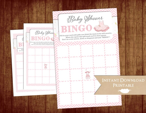 Tutu Cute Baby Shower Bingo Game Cards Pink Chevron Printable INSTANT DOWNLOAD