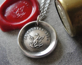 Phoenix Wax Seal Necklace Rise Again antique French wax seal charm jewelry Phenix motto I Suffer Alone by RQP Studio