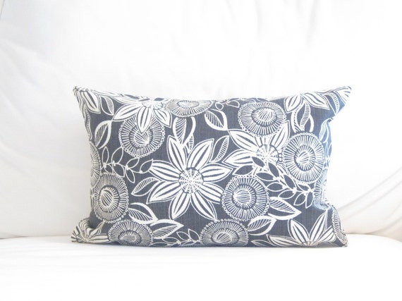 Charcoal Grey Floral Lumbar Pillow Cover Dark by FineFreshDesign