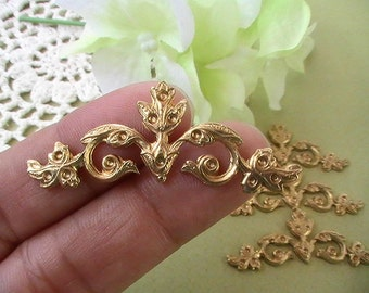 2pcs Rhinestone Setting Raw Brass Connector Brass Stamping Metal Findings Jewelry Supplies Collage Mixed Media Embellishment Made In The USA