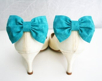 Teal blue Shoes clips, Turquoise Bow tie, Shoe Bow tie clips, Prop, Photographer, Bridal Teal blue bow, Wedding bow tie